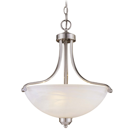 Minka Lavery 3-Lt Pendant Light in Brushed Nickel Finish - Etched Marble Glass 1426-84