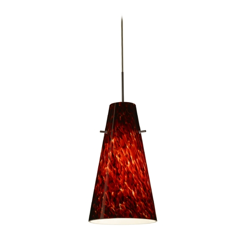 Besa Lighting Modern Pendant Light with Red Glass in Bronze Finish 1JT-412441-BR
