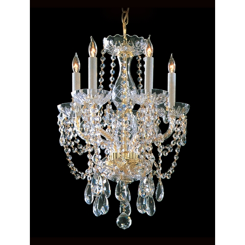 Crystorama Lighting Crystal Mini-Chandelier in Polished Brass Finish 1129-PB-CL-S