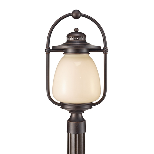 Feiss Lighting Post Light with Beige / Cream Glass in Grecian Bronze Finish OLPL7408GBZ