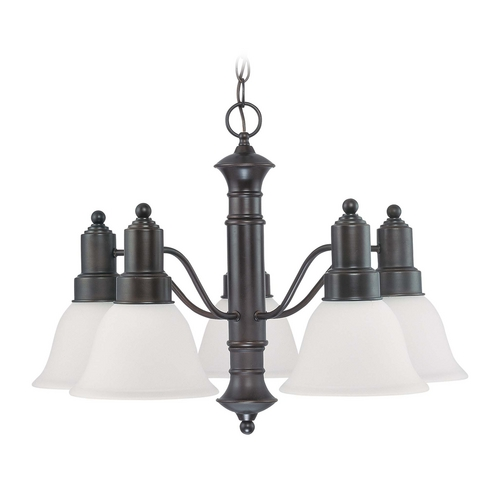 Nuvo Lighting Chandelier with Beige / Cream Glass in Mahogany Bronze Finish 60/3333