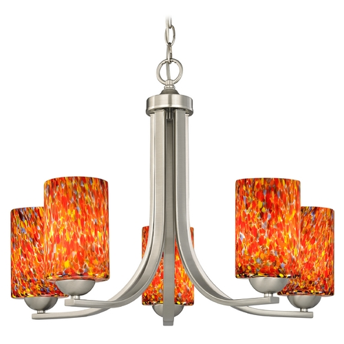Design Classics Lighting Chandelier with Art Glass in Satin Nickel Finish 584-09 GL1012C