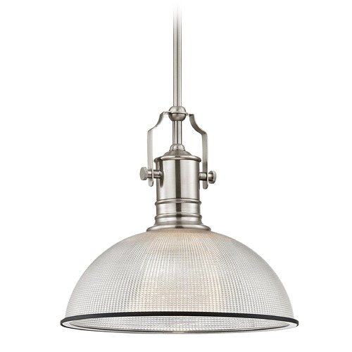 Design Classics Lighting Industrial Pendant Light with Prismatic Glass 13.13-Inch Wide 1765-09 G1780-FC R1780-07