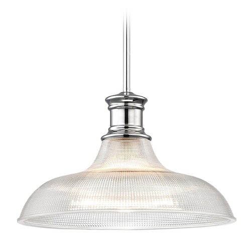 Design Classics Lighting Chrome Prismatic Glass Pendant Light 15.38-Inch Wide 1761-26 G1782-FC