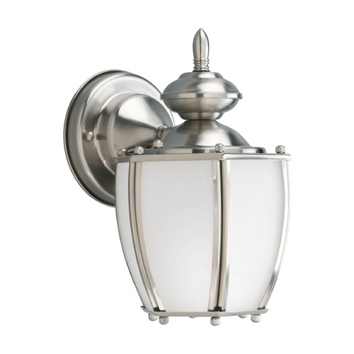 Progress Lighting Outdoor Wall Light with White Glass in Brushed Nickel Finish P5766-09