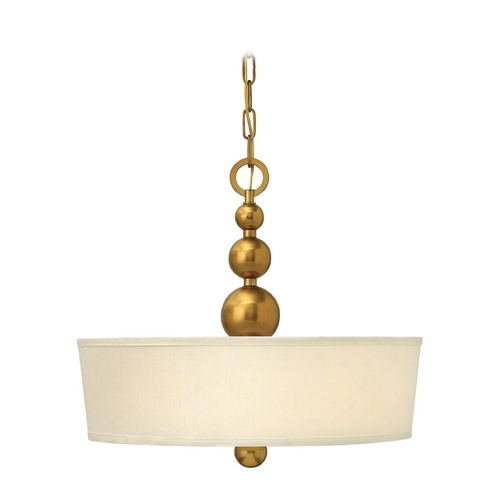 Hinkley Lighting Drum Pendant Light with White Shade in Vintage Brass Finish 3444VS