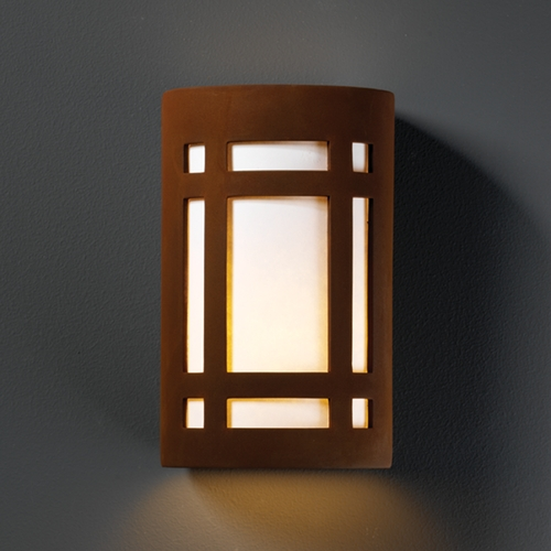 Justice Design Group Outdoor Wall Light with White in Real Rust Finish CER-5490W-RRST