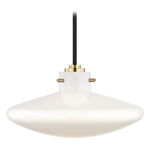 Mitzi by Hudson Valley Industrial LED Mini-Pendant Light Brass Mitzi Nemo by Hudson Valley H128701C-AGB