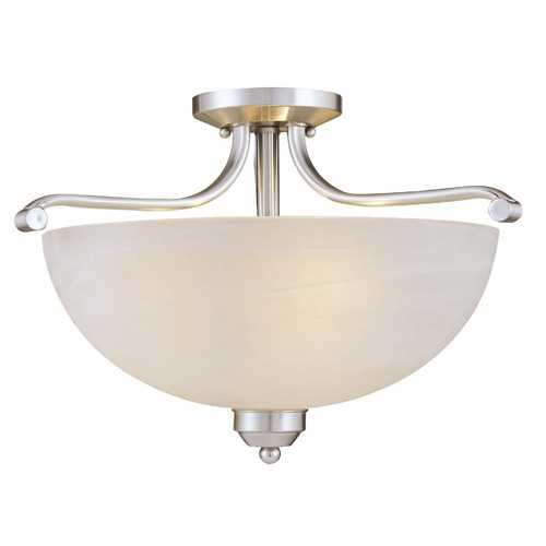 Minka Lavery Semi-Flushmount Light in Brushed Nickel - Etched Marble Glass 1424-84
