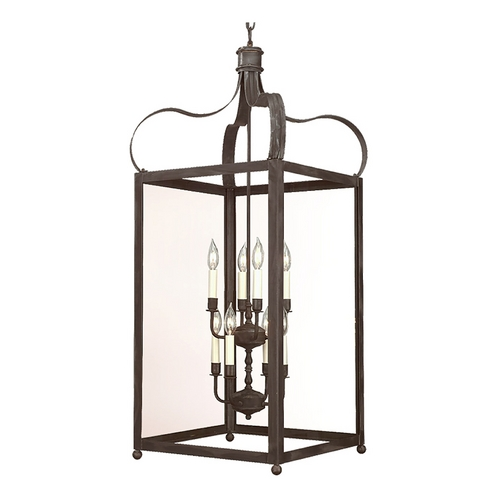 Troy Lighting Pendant Light with Clear Glass in Charred Iron Finish F8923CI