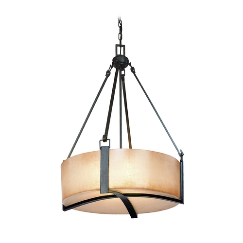 Troy Lighting Drum Pendant Light with Beige / Cream Glass in Antique Bronze Finish F1743ABZ