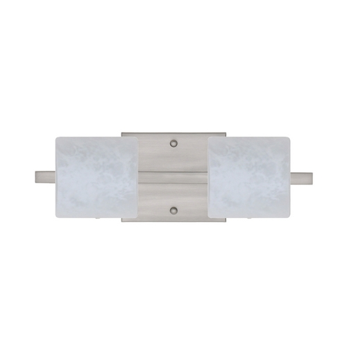 Besa Lighting Modern Bathroom Light with White Glass in Satin Nickel Finish 2WS-787319-SN