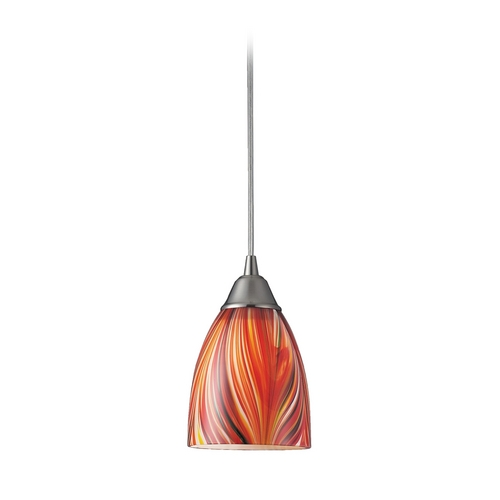 Elk Lighting Modern Mini-Pendant Light with Art Glass 416-1M