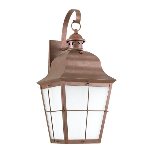 Sea Gull Lighting Outdoor Wall Light with White Glass in Weathered Copper Finish 89273BLE-44