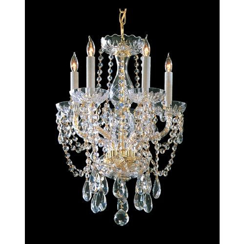 Crystorama Lighting Crystal Mini-Chandelier in Polished Brass Finish 1129-PB-CL-SAQ