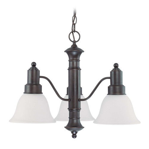 Nuvo Lighting Chandelier with Beige / Cream Glass in Mahogany Bronze Finish 60/3334