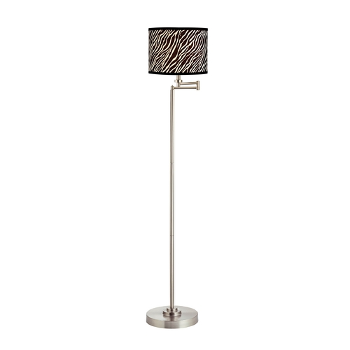 Design Classics Lighting Pauz Swing Arm Floor Lamp with Zebra Drum Lamp Shade 1901-09 SH9485