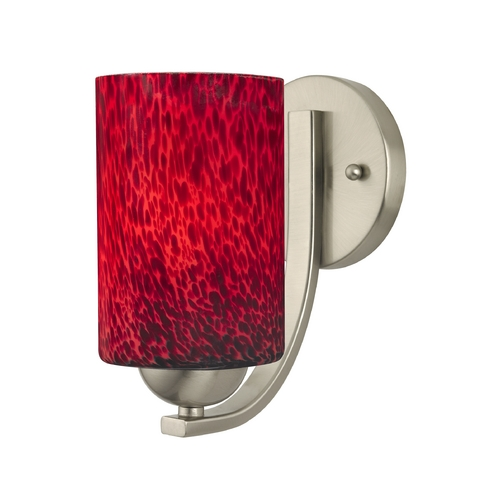 Design Classics Lighting Satin Nickel Wall Sconce with Red Art Glass Cylinder Shade 585-09 GL1018C