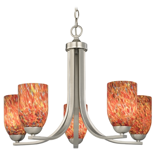 Design Classics Lighting Chandelier with Art Glass in Satin Nickel Finish 584-09 GL1012D