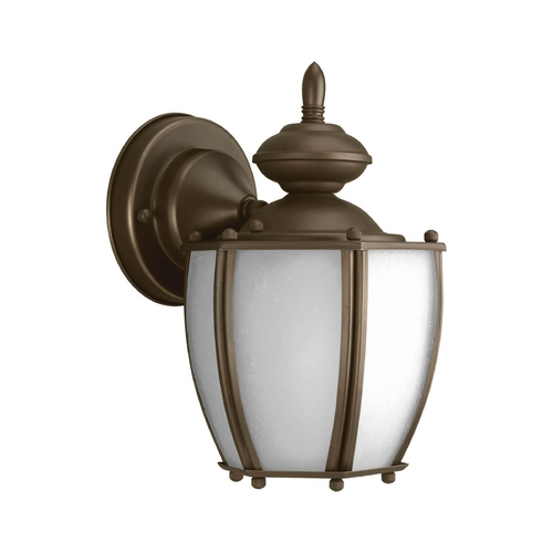 Progress Lighting Outdoor Wall Light with White Glass in Antique Bronze Finish P5766-20
