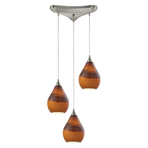 Elk Lighting Elk Lighting Dunes Satin Nickel Multi-Light Pendant with Bowl / Dome Shade 31617/3