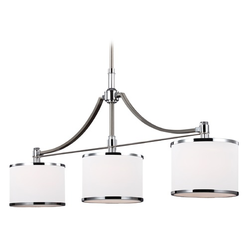 Feiss Lighting Feiss Lighting Prospect Park Satin Nickel / Chrome Island Light with Drum Shade F3086/3SN/CH
