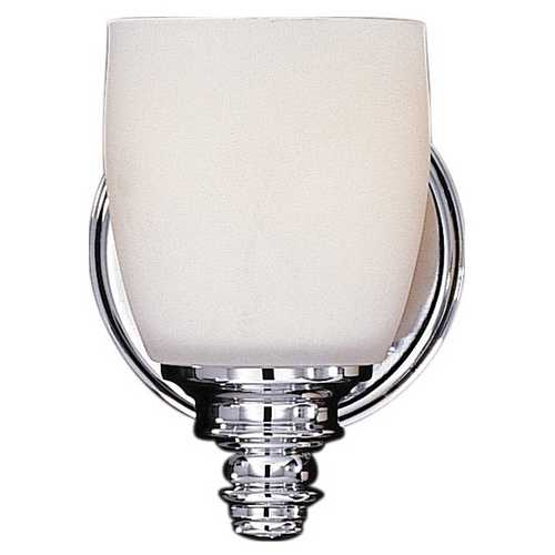 Feiss Lighting Sconce Wall Light with White Glass in Chrome Finish VS7401-CH