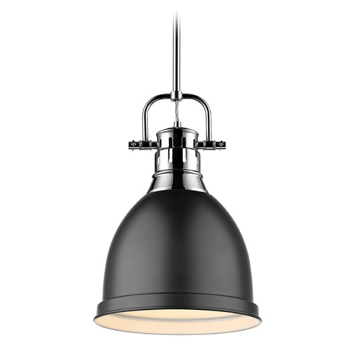 Golden Lighting Golden Lighting Duncan Chrome Mini-Pendant Light with Matte Black Shade 3604-SCH-BLK