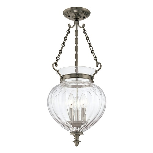 Hudson Valley Lighting Semi-Flushmount Light with Clear Glass in Historic Nickel Finish 782-HN