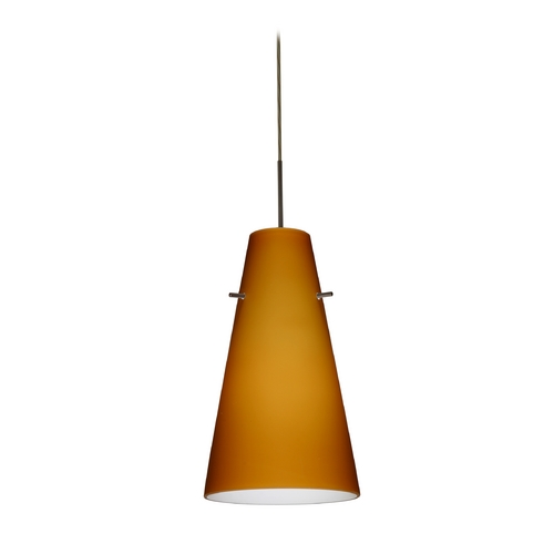 Besa Lighting Modern Pendant Light with Amber Glass in Bronze Finish 1JT-412480-BR