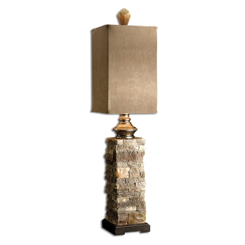 Uttermost Lighting Console & Buffet Lamp with Brown Shade in Cast Aluminum Finish 29093-1