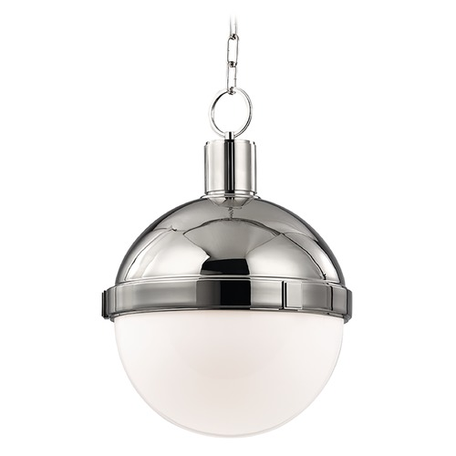 Hudson Valley Lighting Pendant Light with White Glass in Polished Nickel Finish 615-PN