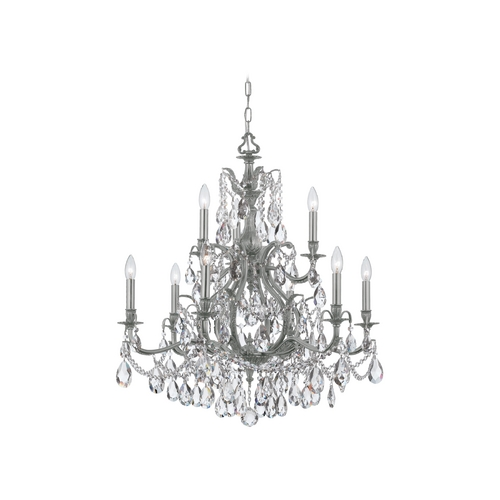 Crystorama Lighting Crystal Chandelier in Pewter Finish 5579-PW-CL-SAQ