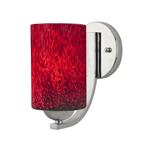 Design Classics Lighting Modern Red Art Glass Wall Sconce Cylinder Shade in Polished Chrome 585-26 GL1018C