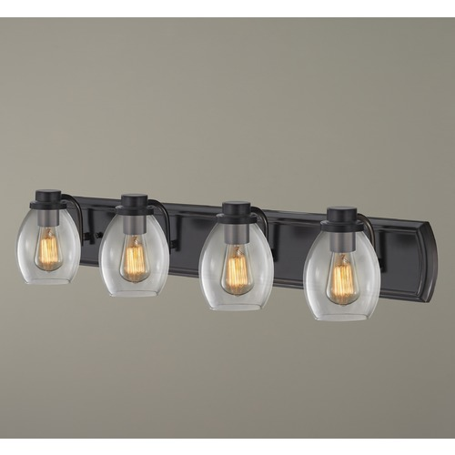 Design Classics Lighting Industrial 4-Light Bath Wall Light with Clear Glass in Bronze 1204-36 GL1034-CLR