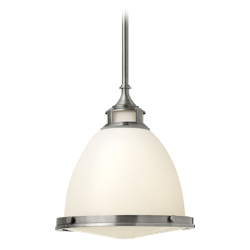 Hinkley Lighting Pendant Light with White Glass in Polished Antique Nickel Finish 3124PL