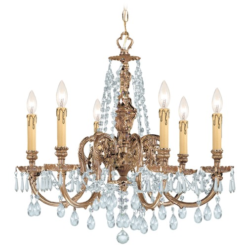 Crystorama Lighting Crystorama Novella 6-Light Crystal Chandelier in Olde Brass 2806-OB-CL-S