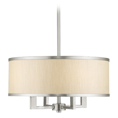 Livex Lighting Livex Lighting Park Ridge Brushed Nickel Chandelier with Drum Shade 6294-91