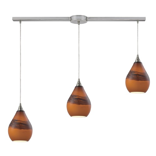 Elk Lighting Elk Lighting Dunes Satin Nickel Multi-Light Pendant with Bowl / Dome Shade 31617/3L