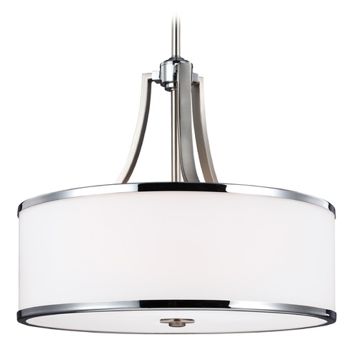 Feiss Lighting Feiss Lighting Prospect Park Satin Nickel / Chrome Pendant Light with Drum Shade F3087/4SN/CH