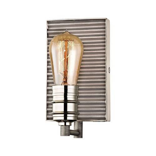 Elk Lighting Elk Lighting Corrugated Steel Weathered Zinc, Polished Nickel Sconce 15920/1