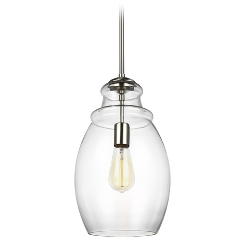 Sea Gull Lighting Sea Gull Lighting Marino Satin Nickel Mini-Pendant Light with Oval Shade P1484SN