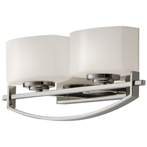Feiss Lighting Modern Bathroom Light with White Glass in Polished Nickel Finish VS18202-PN