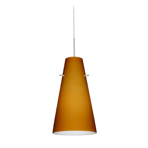 Besa Lighting Modern Pendant Light with Amber Glass in Satin Nickel Finish 1JT-412480-SN