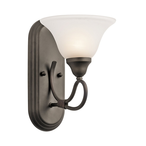 Kichler Lighting Kichler Sconce Wall Light with White Glass in Olde Bronze Finish 5556OZ