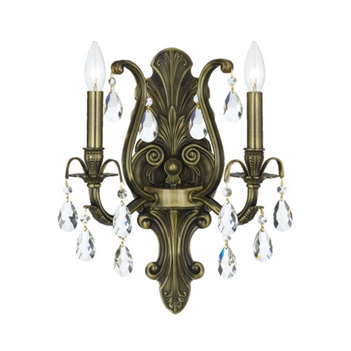 Crystorama Lighting Crystal Sconce Wall Light in Antique Brass Finish 5563-AB-CL-MWP