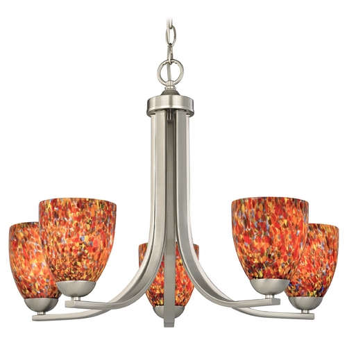 Design Classics Lighting Chandelier with Art Glass in Satin Nickel Finish 584-09 GL1012MB