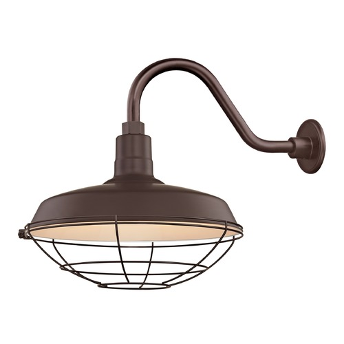 Recesso Lighting by Dolan Designs Bronze Gooseneck Barn Light with 16-Inch Caged Shade BL-ARMC-BZ/SH16-BZ/CG16-BZ