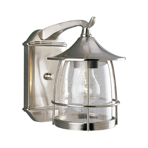 Progress Lighting Progress Outdoor Wall Light with Clear Glass in Brushed Nickel Finish P5763-09
