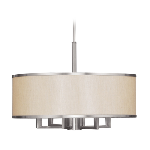 Livex Lighting Livex Lighting Park Ridge Brushed Nickel Chandelier with Drum Shade 6296-91